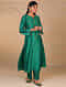 Green Hand Embroidered Silk Chanderi Kurta with Scalloped Sleeves