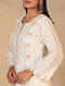 Ivory Hand Embroidered Chanderi Kurta with Scalloped Sleeves
