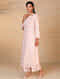 Light Pink Hand Embroidered Chanderi Kurta with Scalloped Sleeves