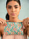 Multicolored Hand Embroidered Cotton Pouch
