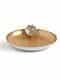 Matt Gold And White Iron Decorative Plate With Lotus (Dia - 11.25in, H - 2.5in)