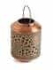 Antique Copper Iron Lantern With Handle In Green Patina Finish (Dia - 7.25in, H - 9.5in)