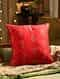 Red Hand Beaded And Foil Print Cushion Cover (L - 18in, W - 18in)