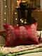Burgundy Embroided Cushion Cover (L - 14in, W - 20in)
