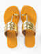 Gold Handcrafted Faux Leather Kolhapuri Flats