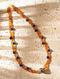 Orange Blue Citrine Agate Silver Tone Beaded Necklace