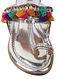 Multicolored Metallic Handcrafted Genuine Leather Kolhapuri Flats
