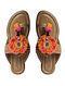 Orange Beige Handcrafted Kolhapuri Flats