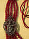 Maroon Gold Tone Temple Work Beaded Necklace For Men