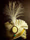 White Green Gold Tone Handcrafted Safa Brooch