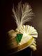 Green Gold Tone Handcrafted Safa Brooch