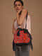 Black Red Handcrafted Leather Backpack