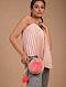 Pink Beige Handcrafted Rattan Sling Bag