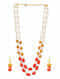 Orange White Temple Work Necklace With Earrings