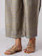 Kashish Khari-printed Elasticated Waist Mulberry Silk Pants with Moti Hem