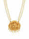 Pearl Beaded Gold-plated Sterling Silver Necklace with Deity Motif