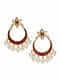 Red Glass Gold-plated Sterling Silver Earrings with Pearls