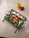 Blue-Multicolor Handpainted Ceramic and Stainless Steel Platter (L - 14.5in, W - 10.5in, H - 3in)