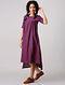 Purple Mangalgiri Cotton Dress with Gathers