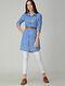 Blue-Ivory Printed Cotton Long Shirt