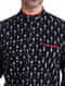 Black-White Mandarin Collar Full Sleeve Handloom Ikat Cotton Shirt