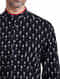 Black Mandarin Collar Full Sleeve Slim Fit Single Ikat Handloom Cotton Shirt