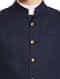 Navy Blue Sleeveless Slim Fit Linen Nehru Jacket