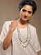 White Gold Tone Multi-string Necklace