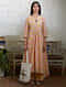 Peach Hand Block Printed Cotton Asymetrical Kurta