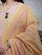 Peach Hand Block Printed Cotton Asymetrical Kurta