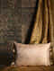 Antique floral Golden Silk Cushion Cover (20in x 14in)