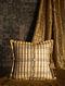 Block Stripe Yellow Silk Cushion Cover (20in x 20in)
