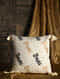 Sage Leaf Off White Silk Cushion Cover with Tassels (20in x 20in)