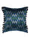 Zigzag Teal Silk Cushion Cover with Tassels (19.5in x 19.5in)