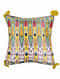 Uzbec Floral Yellow Silk Cushion Cover with Tassels (20in x 20in)