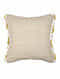 Sandstar Off White-Yellow Cotton Cushion Cover with Tassels (18in x 17in)
