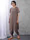 Charcoal Front-open Zari Silk Cotton Kurta with Slip