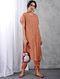 Peach Front-open Zari Silk Cotton Kurta with Slip
