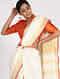 Orange Handloom Silk-Cotton Ikat Blouse