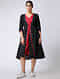 Black-Red Ikat Cotton Dress by Jaypore