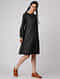 Black-Ivory Handloom Cotton Ikat Dress by Jaypore