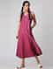 Pink-Ivory Handloom Cotton Ikat Dress with Pockets by Jaypore
