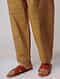 Mustard Tie-up Waist Handloom Cotton Pants by Jaypore