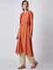 Orange Handloom Cotton Kurta with Jacket by Jaypore