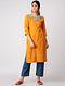 Yellow Hand-embroidered Ikat Cotton Kurta