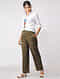 Khaki Green Elasticated Waist Ikat Cotton Pants