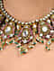 Pink-Green Gold Tone Kundan Inspired Necklace