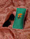 Green Quilted Thread-Embroidered Cotton Silk Spectacle Case