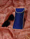 Blue Quilted Thread-Embroidered Cotton Silk Spectacle Case