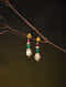 Ruby and Emerald Diamond Polki Gold Earrings